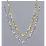 Happy New Year Necklace 28in Beads Pk1 (Gold or Silver)