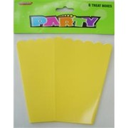 Yellow Cardboard Party Treat Boxes Pk 8
