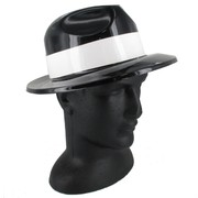 Black Gangster Hat with White Band - Plastic Pk 1
