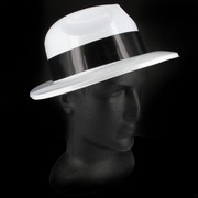 White Gangster Hat with Black Band - Plastic Pk 1