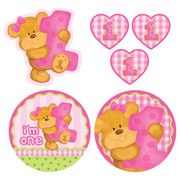 Bears 1st Birthday Girl Assorted Cutouts Pk 6 (Assorted Designs)