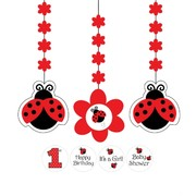 Ladybug Party Decorations - Hanging Cutouts Ladybug Fancy Pk 3