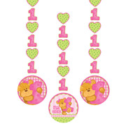 Bears 1st Birthday Girl Hanging Cutout Decorations Pk 3