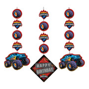Mudslinger Monster Truck Hanging Cutout Decorations Pk 3