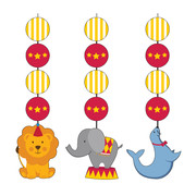 Circus Time Hanging Cutout Decorations Pk 3