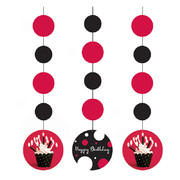 Cupcake Blowout Dots Hanging Decorations Pk 3
