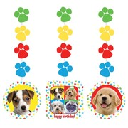 Puppy Dog Party Decorations - Hanging Cutouts - Paw-ty Time! Pk3