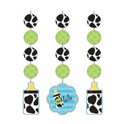 Baby Cow Print Boy Hanging Cutout Decorations Pk 3