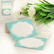 Teal Place Cards with White Polka Dots Pk 20