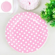 Pink Paper Plates with White Polka Dots (18cm) Pk 12