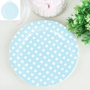 Blue Paper Plates with White Polka Dots (18cm) Pk 12