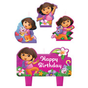 Dora the Explorer Moulded Candle Set Pk 4 (Assorted Designs)