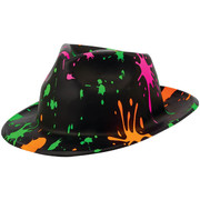 Totally 80s Paint Spatter Plastic Fedora Hat Pk 1