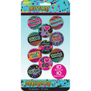 Totally 80s Button Party Favours Pk 10 (Assorted Designs)