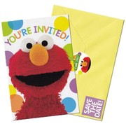 Sesame Street Invitations (Yellow Envelopes & Save The Date Stickers) Pk 8