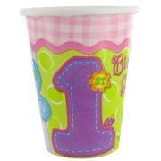 1st Birthday Party Cups - Hugs & Stitches Girls Pk8