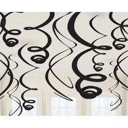 Black Hanging Swirl Decorations Pk 12