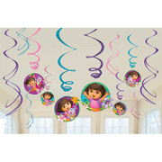 Dora The Explorer Hanging Swirl Decorations Pk 12