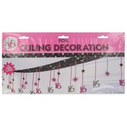 Decoration Ceiling Foil Pink Silver Black 16 3.65mx30.5cm Pk1