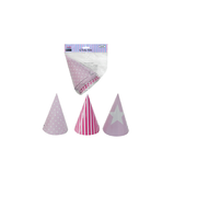 Pink Party Hats (3 Designs) Pk 6