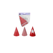 Red Party Hats (3 Designs) Pk 6