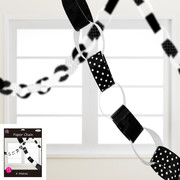 Black & White 4m Paper Chain Decoration Pk 1
