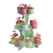 Pastel Green 3 Tier Cupcake Stand with White Polka Dots Pk 1