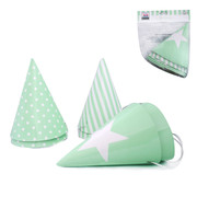 Green Party Hats (3 Designs) Pk 6