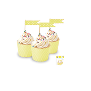 Yellow Cupcake Topper Flags with White Polka Dots Pk 24
