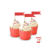 Red Cupcake Topper Flags with White Polka Dots Pk 24