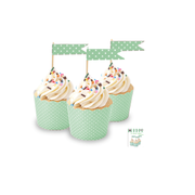 Green Cupcake Topper Flags with White Polka Dots Pk 24
