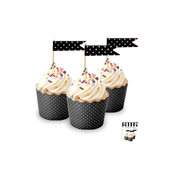 Black Cupcake Topper Flags with White Polka Dots Pk 24