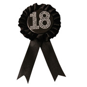 Black Satin 18 Rosette Badge with Diamantes (9cm) Pk 1