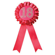 Pink Satin 18 Rosette Badge with Diamantes (9cm) Pk 1
