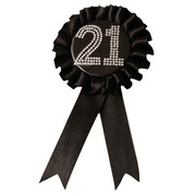 Black Satin 21 Rosette Badge with Diamantes (9cm) Pk 1