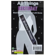 Black & Silver Birthday Princess Sash Pk 1