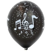 Balloons Latex All Over Musical Notes Metallic Pk10