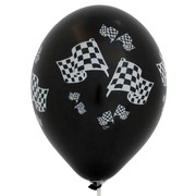 Balloons Latex All Over Check Flags Black & White Metallic Pk10