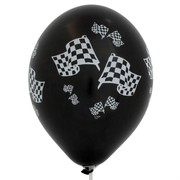 Balloons Latex All Over Check Flags Black & White Metallic Pk50