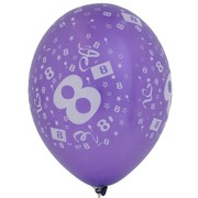 Balloons Latex All Over 8 Assorted Colours Pk10