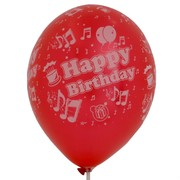 Balloons Latex All Over Metallic Happy Birthday Song Assorted Colours Pk10