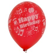 Balloons Latex All Over Metallic Happy Birthday Song Assorted Colours Pk50