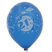 Balloons Latex All Over 21 Blue Pk50