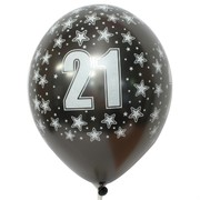 Balloons Latex All Over 21 Metalic Black Pk10