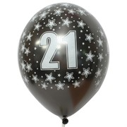 Balloons Latex All Over 21 Metallic Black Pk50