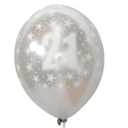 Balloons Latex All Over 21 Silver Pk10