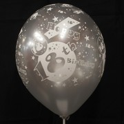 Balloons Latex All Over 18 Silver Pk10