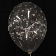 Balloons Latex All Over Happy Engagement Clear Pk50
