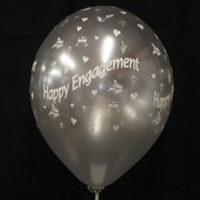 Balloons Latex All Over Metallic Engagement Silver Pk10