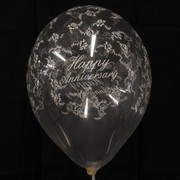 Balloons Latex All Over Happy Anniversary Clear Pk50